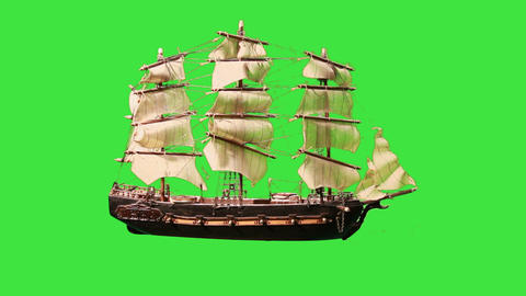 0976 Pirate Sailboat with Green Screen Stock Video Footage