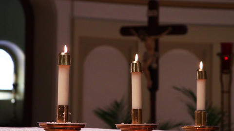 0701 Candles at Church Stock Video Footage