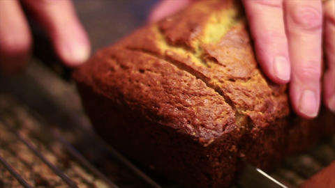 Cutting Banana Nut Bread Stock Video Footage