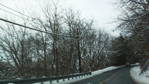 0717 Driving in Snow through the Tree Footage