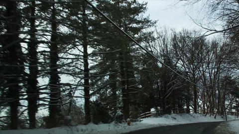 0718 Driving in Snow through the Trees, Passing Po Stock Video Footage