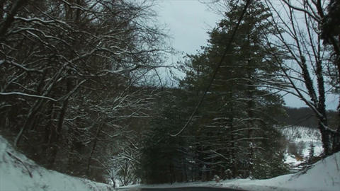 0720 Driving in Snow through the Trees, Slow Motio Footage