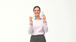 Happy businesswomen with her money Stock Video Footage