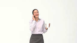 Businesswoman drinking while she is phoning Footage
