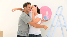 Beautiful couple painting together Footage