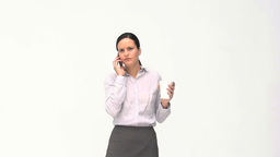 Beauty businesswoman drinking while is phoning Footage