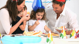 Happy family during a birthday Footage