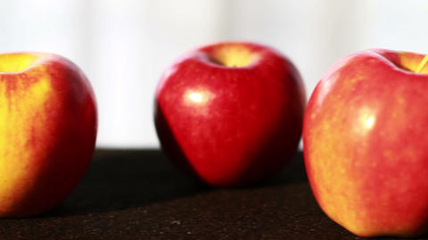 0622 Apples In A Row Close Up Panning Slowly stock footage