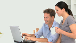 Couple chatting on the laptop Stock Video Footage