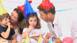 Family enjoying a birthday party Footage