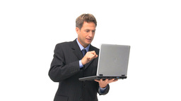 Businessman using a laptop Stock Video Footage