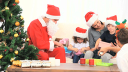 Santa Claus with a family Footage