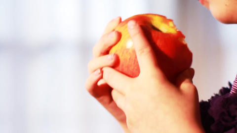 0634 Child Eating an Apple , Slow Motion Footage