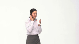 Happy businesswoman talking on the phone during a  Footage