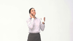 Happy businesswoman talking on the phone during a Stock Video Footage