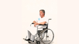 A patient in a wheelchair Stock Video Footage