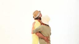 Elderly couple on vacacion dancing Footage