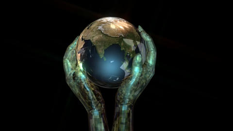 Animation of Globe and Hands Animation