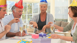 Seniors friends celebrating a birthday Stock Video Footage