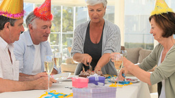 Seniors Friends Celebrating A Birthday stock footage