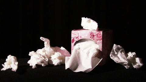 0654 Many Tissues , Being Sick Stock Video Footage