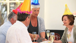 Senior friends celebrating a birthday Footage
