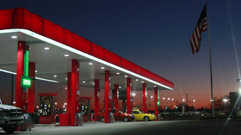 Gas Station Time lapse at Sunset, 4K Footage