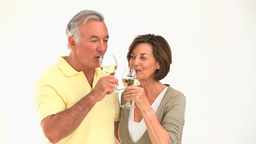 Mature couple drinking white wine Footage