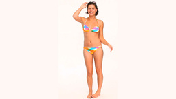 Cute brunette in swimsuit looking at the camera Stock Video Footage