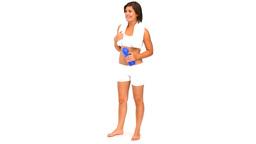 Brunette ins sportswear drinking water Footage