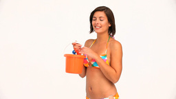 Brunette in swimsuit going to the beach Stock Video Footage