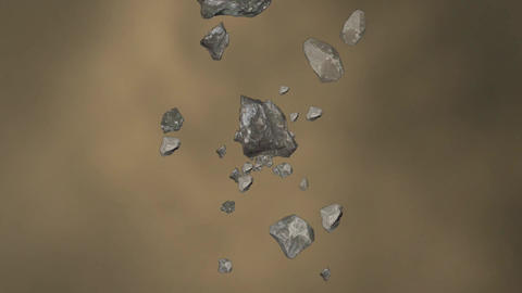 Animation of falling Rocks in a Swirl Animation