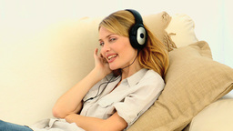 Gergeous woman listening to music Stock Video Footage