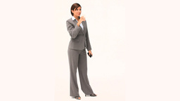 Businesswoman in gray suit holding a cup of coffee Stock Video Footage