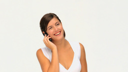 Good looking brunette having a phone call Footage