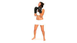 Brunette in sportswear with boxing gloves Footage