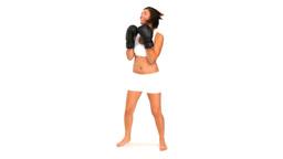 Brunette in sportswear with boxing gloves Footage