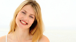 Naturel blonde woman smilling Footage