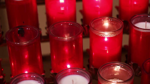 0687 Candles Church Stock Video Footage