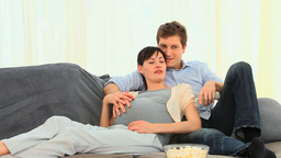 Man stroking the belly of his pregnant wife Stock Video Footage