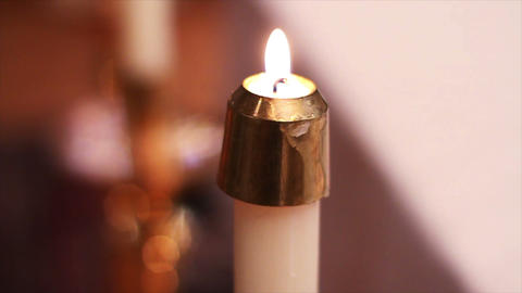 0690 Candles at Church Stock Video Footage