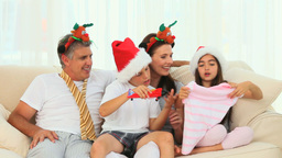 A family on Christmas day Footage