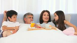 A family having breakfast Footage
