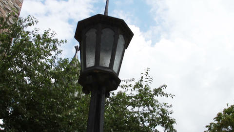 0698 Old Outdoor Light Pole Stock Video Footage