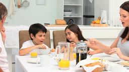 Family having a breakfast Footage