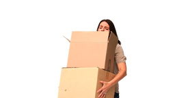 Brunette holding boxes Stock Video Footage