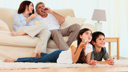 Family watching a movie Footage