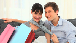 Couple with shopping bags Stock Video Footage
