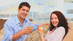 Lovely couple holding glasses of wine Footage