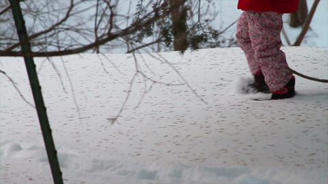 0767 Child Lost in Forest in the Snow Footage